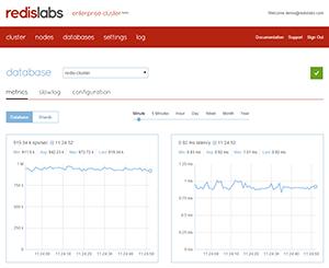 Redis Labs Enterprise Cluster dashboard screenshot