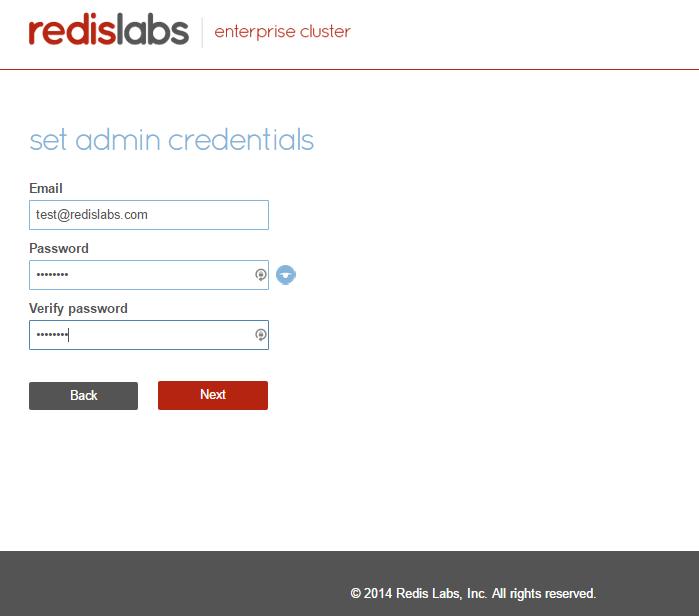 Set admin credentials