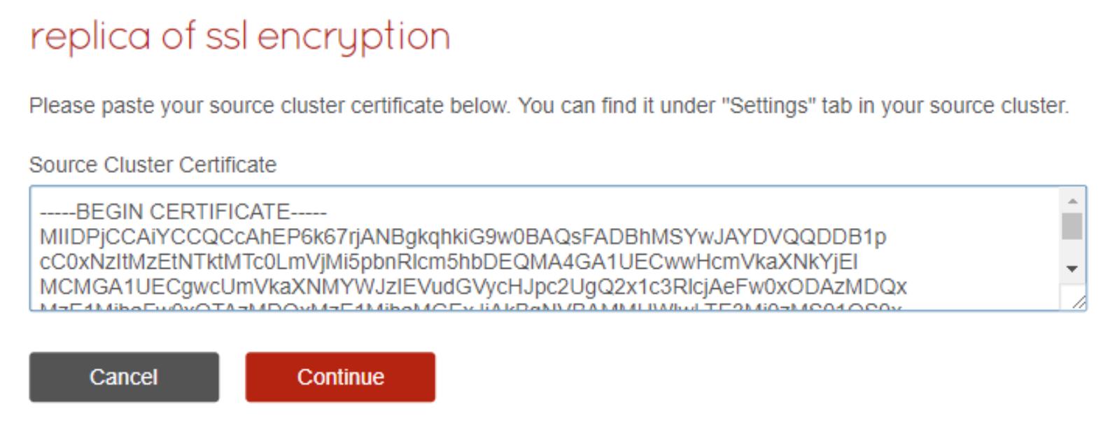 Replica-of Destination - Certificate