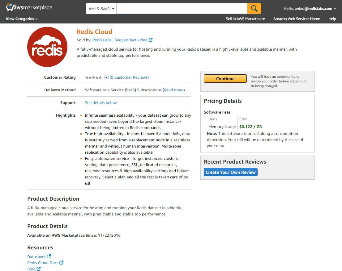 Redis<sup>e</sup> Cloud on AWS Marketplace