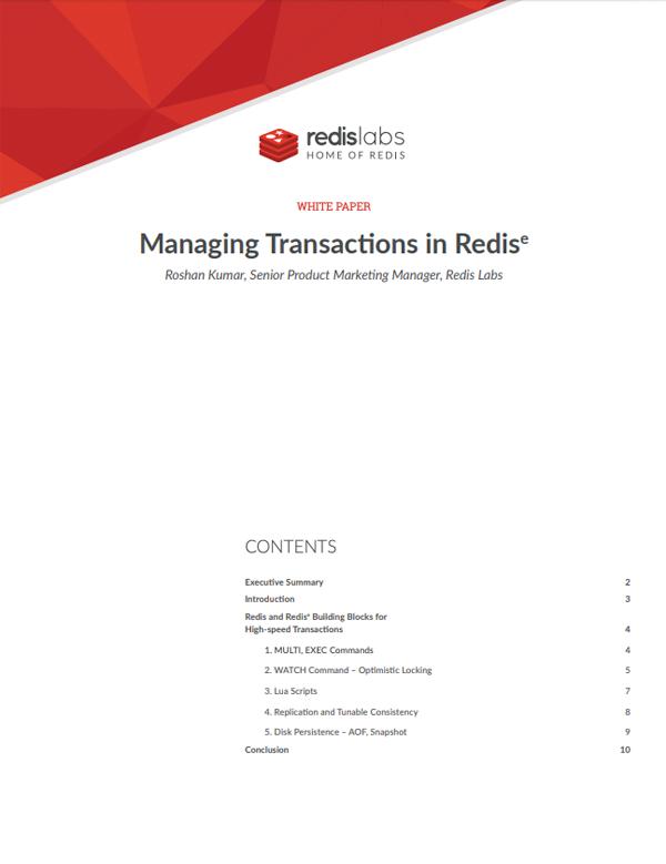 Database Transaction Management with Redis Enterprise