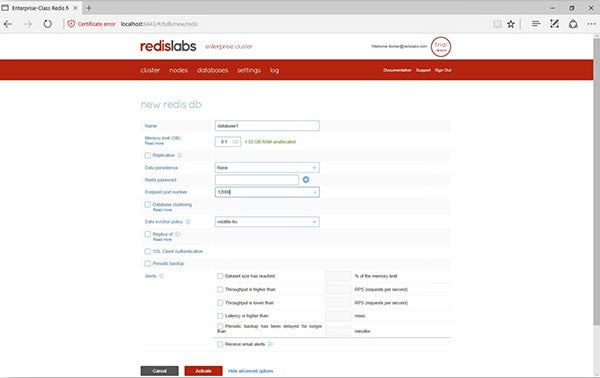 Redis Enterprise Pack configure new database screen