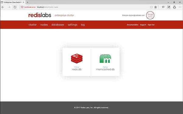 Redis Enterprise Pack create database screen
