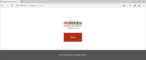 Redis Enterprise Pack Setup Screen
