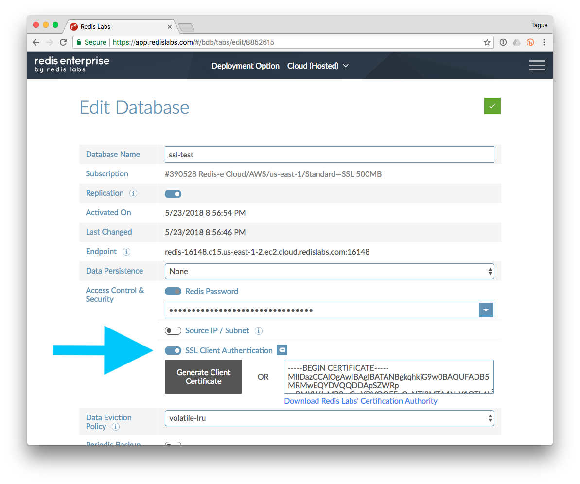 Enabling Secure Connections to Redis Enterprise Cloud in