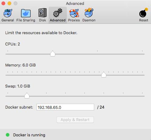 Docker Memory Preferences Advanced