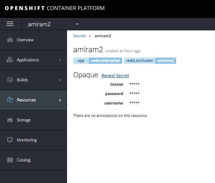 "OpenShift ""reveal secret"" screen"