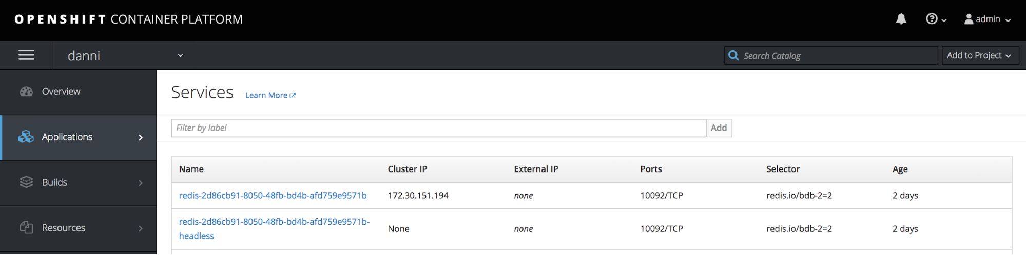 OpenShift services screen