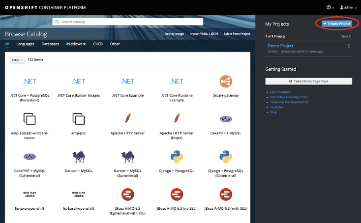 "OpenShift ""new project"" screen"