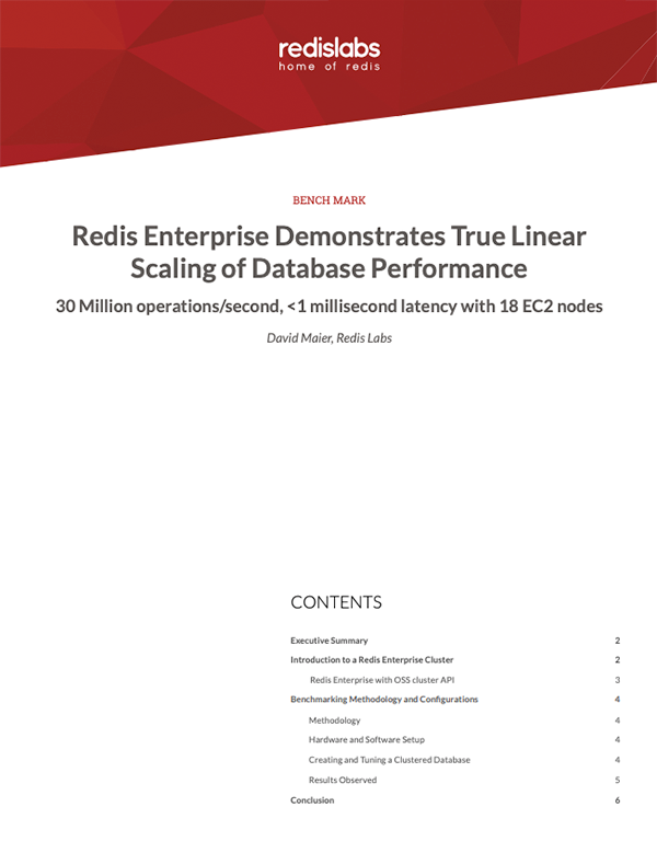 Redis Enterprise Demonstrates True Linear Scaling of Database Performance