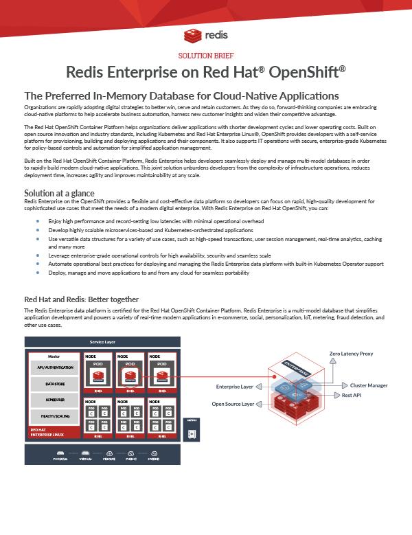 Redis Enterprise on Red Hat OpenShift datasheet