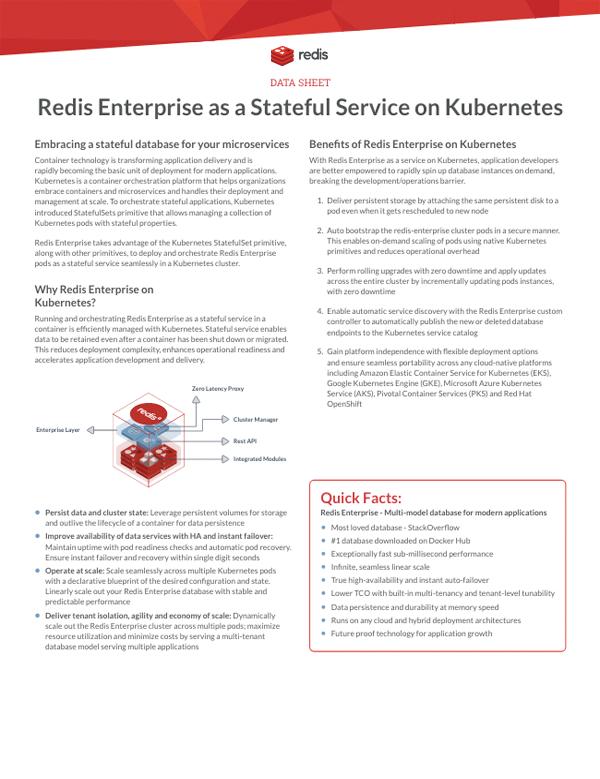 Redis Enterprise as a Stateful Service on Kubernetes datasheet