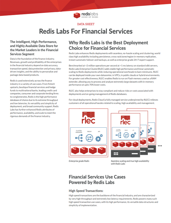 Redis labs For Financial Services