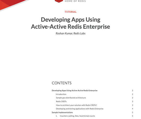Developing Apps Using Active-Active Redis Enterprise
