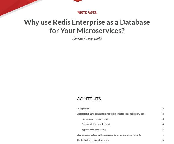 Redis Enterprise as a Database for Microservices