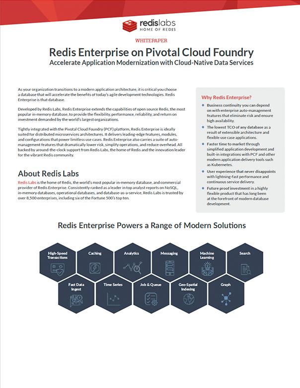 Redis Enterprise on Pivotal Cloud Foundry