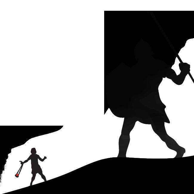 Illustration of David fighting Goliath