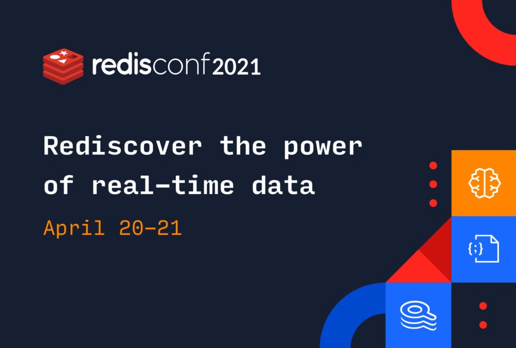 RedisConf 2021 banner and colorful building blocks