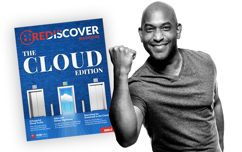 Cover of Rediscover magazine next to Kelsey Hightower