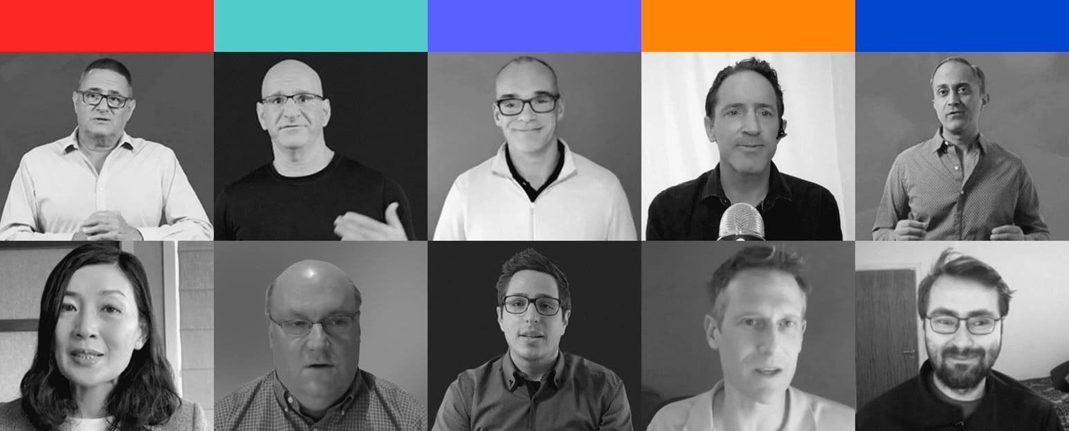 A 2x5 grid with the 10 keynote speakers at RedisConf 2021