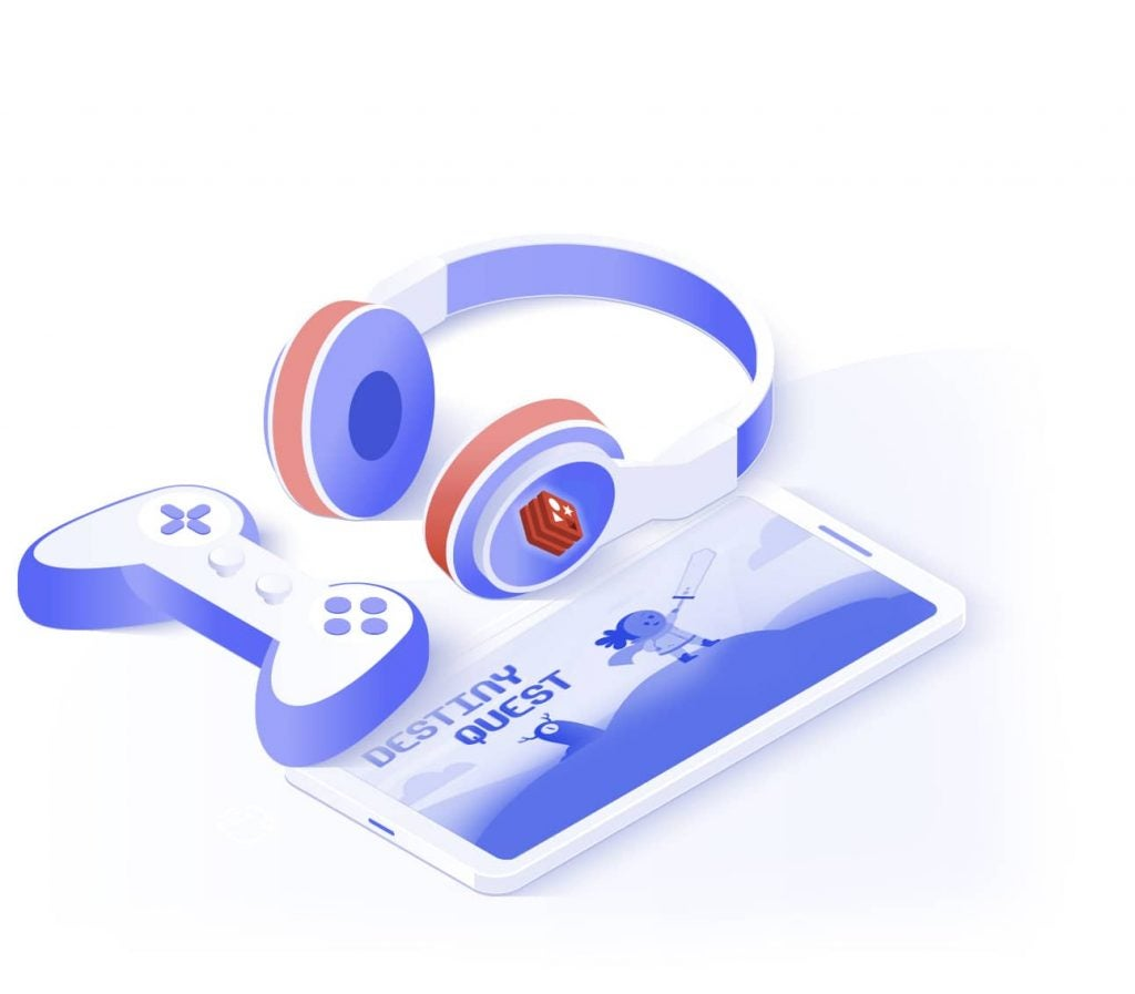 Illustration of joystick, mobile game, and headphone with redis logo