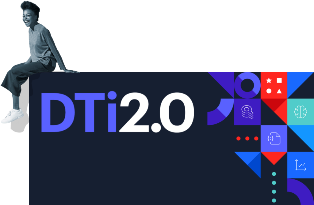 woman sitting on dti2.0 graphic